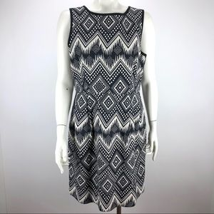 J Crew Cotton Shift Dress Aztec Black - Size 10